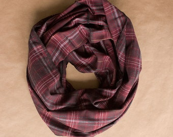 CLEARANCE!! Cotton Infinity Scarf - Black Red White Yellow Plaid - Brushed woven cotton flannel - ready to ship