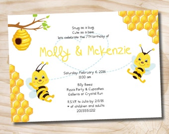 Bee Birthday Party Invitation 6th, 7th 8th 9th 10th Birthday boy, girl, party invitation - DIY, printable file