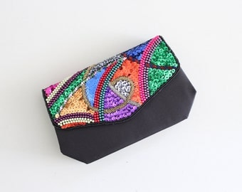 vintage 80s beaded & sequined clutch - vintage 90s convertible handbag / rainbow sequins - black satin purse / beaded 1980s evening bag