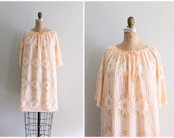 peach sorbet 60s nightie - vintage lacey dolly dress / tangerine nyon with  ivory lace overlay / vintage 60s nightie - sweet kawaii dress