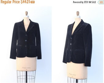 SALE / vintage jet black velvet 1970s ladies blazer - 80s - cotton & rayon / Chaus - classic jacket / 1980s . 70s