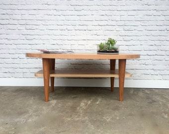 Wellington Mid Century Modern Inspired Coffee Table - Solid Cherry - Clear Finish