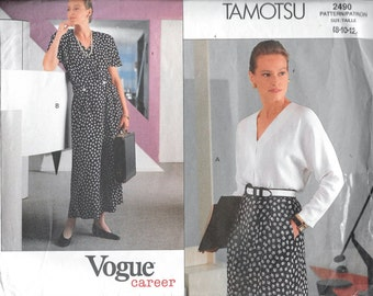 Vogue 2490 TAMOTSU Career Top, Blouse and Skirt Sewing Pattern Size 8, 10 and 12 UNCUT