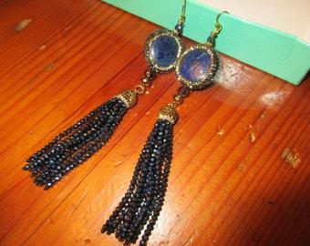 "Killer Genuine BLUE LAPIS Focal Stone Encrusted w/Hematite & Gold Pave Crystals, 8 Sapphire Crystal TASSELS 5"" Long Pierced Earrings"