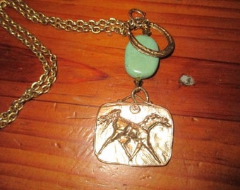 Divine Artisan Gold/Bronze Large Embossed HORSE Pendant, Genuine TURQUOISE, 2 HORSESHOE Charms on Vintage Gold Plate Chain Link Necklace