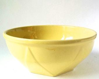 1950s Yellow Diana Pottery Mixing Bowl. Mid Century Australian Pottery.