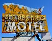 Golden Hills Motel (Mt. Carmel Junction, Utah) Fine Art Photograph. Classic neon sign Road Trip Decor. Motel theme. Zion & Bryce Canyon area