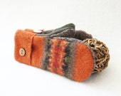 Fall Colors Mittens PUMPKIN SPICE Orange Mittens Fair Isle Felted Sweater Wool Mittens Fleece Lined Mittens Wool Gloves by WormeWoole