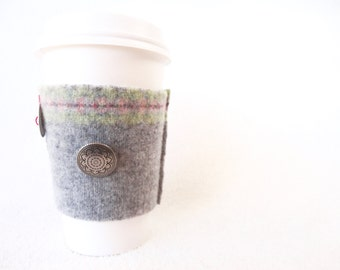 Coffee Cozy GRAY & PASTEL Felted Sweater Wool Coffee Cosy / Coffee Sleeve / Coffee Sweater by WormeWoole