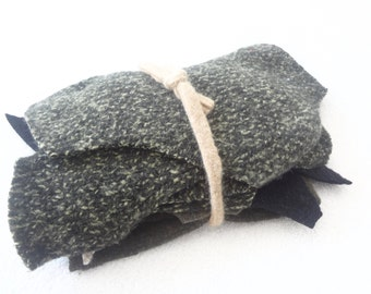 Felted Sweater Wool Scraps Green OLIVE & BLACK Coordinating Wool Scrap Pack Destash Fabric Pieces Craft Supply WormeWoole
