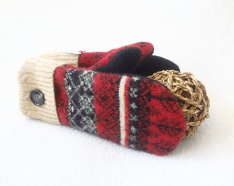 Felted Wool Mittens RED & BLACK with BEIGE Upcycled Fair Isle Sweater Mittens Fleece Lined Winter Accessory for Womem by WormeWoole