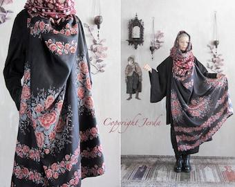 Flowers Scarf, Hooded Scarf, black red shawl, Infinity Scarf, Gypsy Clothing, Boho scarf, Silk Shawl, Spring Scarf, Petite size clothing