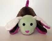 Minky Puppy Stuffed Animal - Minky Scrap Puppy - Small purple brown green - Ready to Ship