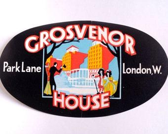 Vintage Grosvenor House hotel luggage label, original unused paper ephemera, 1950s, decal, sticker, baggage, London England UK, gummed