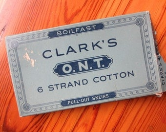 Vtg Clark's ONT six strand cotton thread and box / vintage sewing supply / embroidery thread / pull out skeins