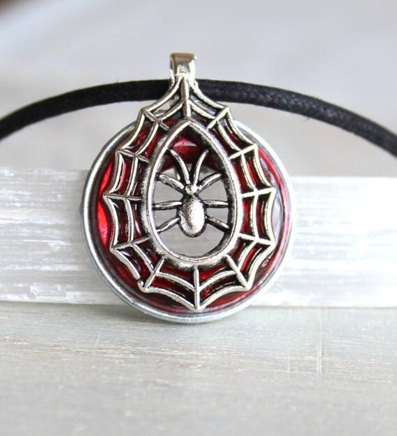red spider necklace, spider jewelry, halloween costume, halloween jewelry, halloween necklace, halloween gift, gothic necklace, goth jewelry