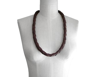 Braided leather necklace - Chunky necklace - Necklaces - Woven Leather Necklace - Thick Necklace -  Brown rope necklace - Non metal jewelry