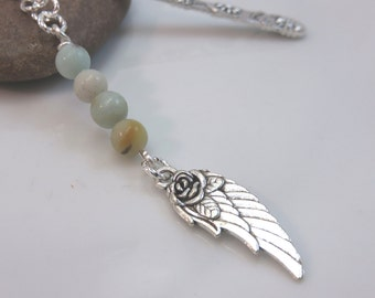 Guardian angel bookmark - silver metal bookmark - angel wing bookmark  - amazonite bookmark - gemstone bookmark - gift for book lover