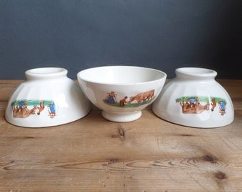 3 french cafe au lait bowl embossed white ceramic with country scene