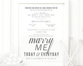 "Train ""Marry Me"" - Grey & Blush - Valentine's, Wedding Gift, Cotton, Paper Anniversary Gift, Song Lyrics, Art Print"