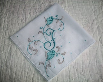 FUN and FABULOUS FAYE, Vintage Monogram Handkerchief, The letter 'F'