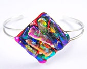 "Dichroic Pendant  / Cremation Jewelry - Orange Gold Blue Green Fused Glass - Custom Made -  1"" / 25mm - Patterned Patchwork Style"