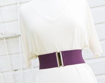 women's eggplant purple elastic waist belt