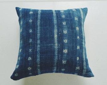 Vintage Indigo Mudcloth Pillow Cover - Modern Bohemian Decor - African Throw Pillow