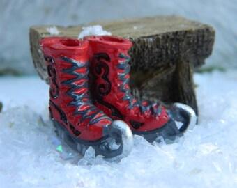 Fairy Garden Bench with red ice skates-Miniature Christmas Garden-Christmas Village Accessories-Christmas Miniatures
