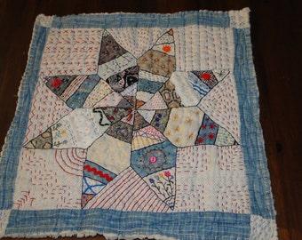 BLUE STAR Embellished Vintage Quilt Square
