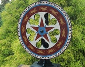 "Carnival Wheel w/ 37"" Stand, Primitive Carnival Wheel, Roulette Wheel, Wheel of Chance, Folk Art Carnival Wheel"