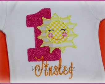 Girls Sunshine Birthday Shirt  You Are My Applique Personalized 1st 2nd 3rd 4th Tshirt Toddler Children