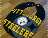 Pittsburgh Steelers Baby Bib, Recycled T-Shirt Baby Bib, Football Sports Baby Boy Gift, Baby Shower Gift