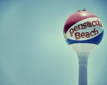 Pensacola Beach Sign, Beach Ball Photograph, Beach Decor