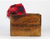 Vintage Wood Crate, Scribner's Radio Music Library Wood Crate, Music Library Wood Crate, Vintage Wooden Crate, Industrial Decor