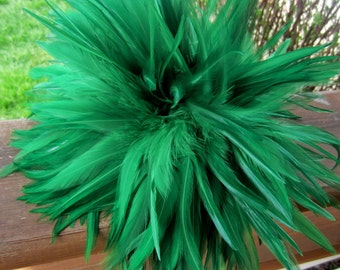 Green  Feathers  Strung Saddle green  K38 6 inches plus