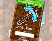 Mine Craft Inspired Personalized Valentine DIY Printable File