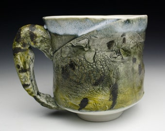 Brand New Hand made Porcelain Frog Mug   One of a Kind Fishing Cup Fishermans Gift