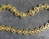 Vintage Gold Heart Necklace, Gold plated cut out heart link necklace