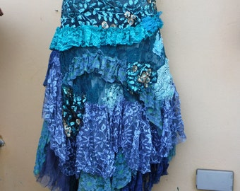 "20%OFF wedding bohemian boho gypsy lagenlook OAK shabby mermaid wrap skirt...42"" across plus ties."