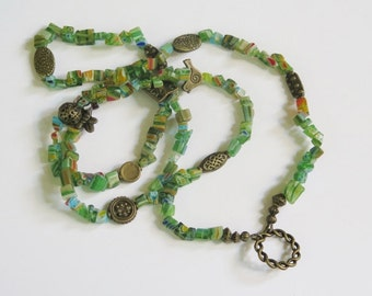 Eye Glass Holder Necklace - Colorful Glass Beads with Goldtone Metal Findings - A variety of Green Chip Glass Beads & Goldtone Metal Beads