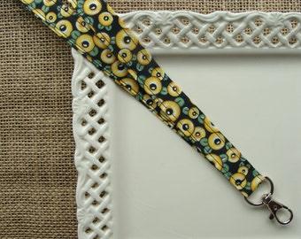 Fabric Lanyard - Mary Engelbreit - Fried Egg Flowers on Black