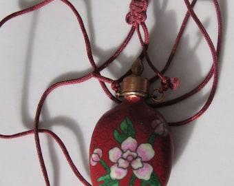 Vintage Chinese Enamel Cloisonne Flower Perfume Bottle Necklace