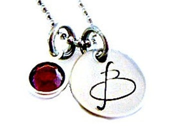 Hand Stamped Hand Stamped birthstone initial necklace - Initial Jewelry - Initial Necklace