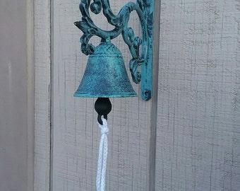 Cast Iron Blue/Green Dinner Bell