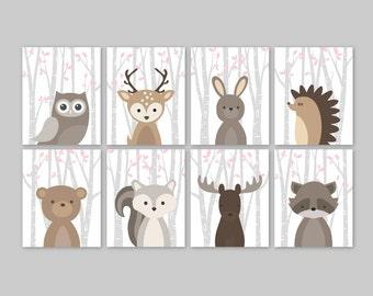Baby Girl Nursery Decor Woodland Animals Woodland Nursery Girl Pink Forest Animal Prints Set Owl Deer Rabbit Bear Squirrel Moose Raccoon