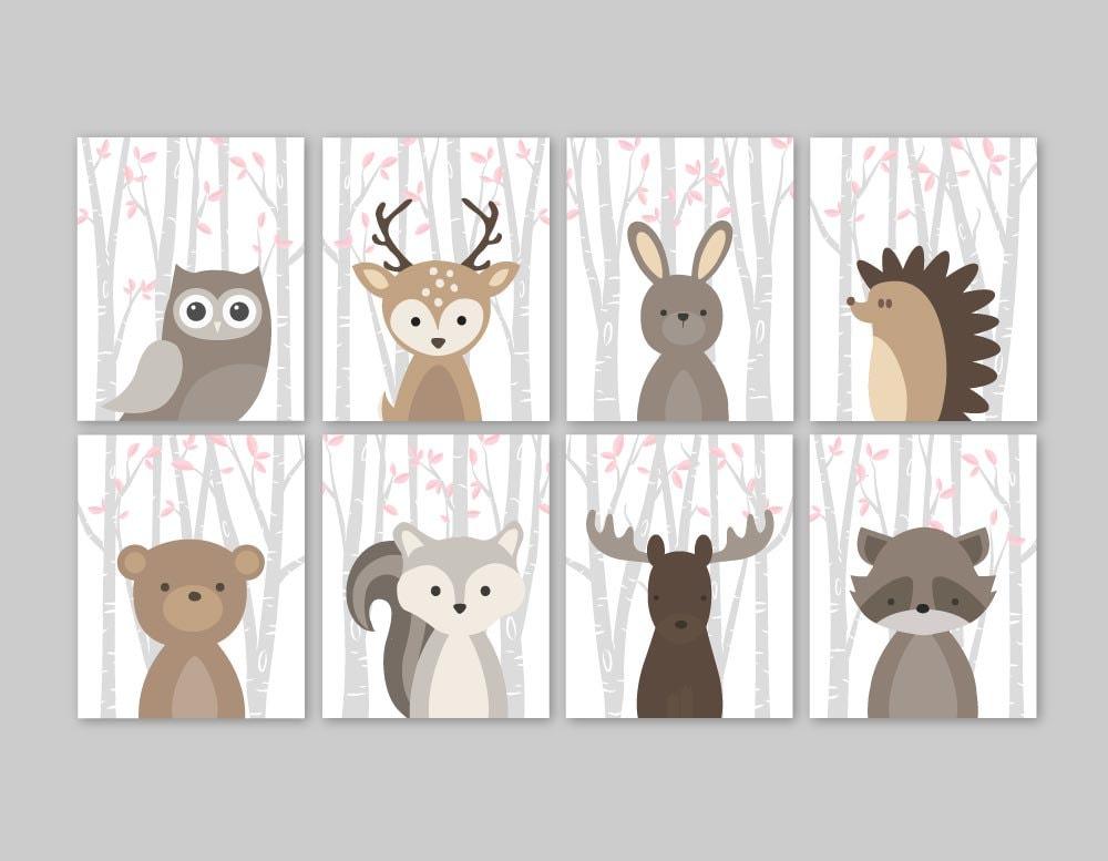 baby girl nursery decor woodland animals woodland nursery girl. Black Bedroom Furniture Sets. Home Design Ideas