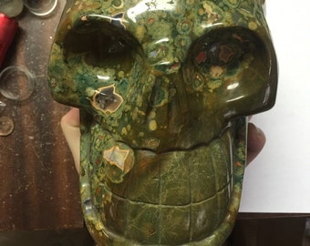 HUGE 12lb Rhyolite Rainforest Jasper Carved Skull Wow Awesome Display
