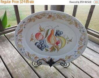 Vintage Kenro Melamine Festivity Serving Platter With Fruit Design Turkey Platter