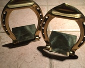 Vintage brass horseshoe bookend set